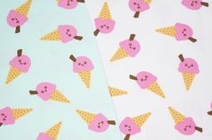 Mmm.. tricots met ijsjes van Megan Blue! Shops, Monster, Blue Fabric, Sewing Projects, Ice Cream, Abstract, Artwork, Cards, Coupon