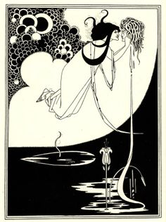 What I was holding in my hands was no print. It was an incredibly rare illustration: The Climax, an original drawing by British Art Nouveau illustrator Aubrey Beardsley. Art And Illustration, Victorian Illustration, Ink Illustrations, Japanese Woodcut, Jugendstil Design, Aubrey Beardsley, Alphonse Mucha, Ink Drawings, Oeuvre D'art