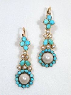 Image result for regency period turquoise and pearl earrings