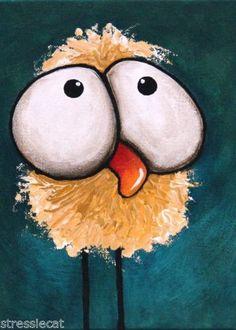 ACEO-Print-Folk-Art-illustration-whimsical-animal-big-eyes-bad-hair-day-bird #whimsicalbird