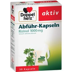 DOPPELHERZ Abführ-Kapseln Rizinol 1.000 mg:   Packungsinhalt: 30 St Kapseln PZN: 01534672 Hersteller: Queisser Pharma GmbH & Co. KG…