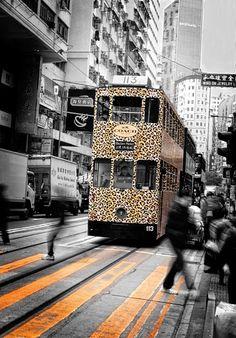 Hong Kong Tram Photography,Urban Tramways,Black & White Photography,Hong Kong Urban Print, Hong Kong Tram Print,Leopard Printed Tram Photo