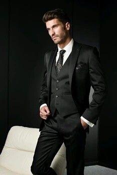 Terno chefe de noivo smoking ( paletó + colete + calça )2016 preto dos homens