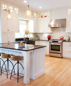 Supreme Kitchen Remodeling Choosing Your New Kitchen Countertops Ideas. Mind Blowing Kitchen Remodeling Choosing Your New Kitchen Countertops Ideas. White Kitchen Cabinets, Kitchen Redo, New Kitchen, Kitchen White, Dark Cabinets, Wood Cabinets, Kitchen With Black Countertops, Kitchen Layout, Condo Kitchen