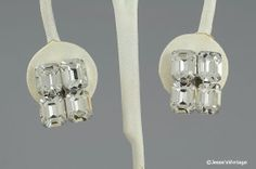 Crystal Rhinestone Earrings Square 50s Silver by JessesVintage, $7.49