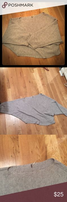 Free People Off the Shoulder Slouchy Sweater L Soft grey. Oversized fit with an off the shoulder finish. Two small (ink?) stains pictured. Make offers!!! Free People Sweaters Crew & Scoop Necks