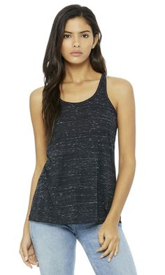 This Bella+Canvas Flowy Racerback Tank is a comfortable blended racerback tank that has a very flattering drape and soft texture. It's super lightweight, great for those hotter temperatures. It's also a great wear at the gym to show off all your best features! It's 6.2 oz. made from flowy poly viscose (65%/35%)