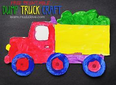 Printable Dump Truck Craft - also links to cement truck, ambulance, tractor, and airplane printables