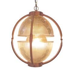 Bespoke Traditional Matt Copper Glass Orb Pendant Light Fitting, two open glass dome shades in either Prismatic Ribbed Glass or Frosted Glass.  Matt Copper metalwork can be combined with any Colour/Length Flex.