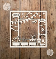 Toy Train Photo Frame SVG PDF  Papercutting Template