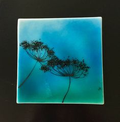 This glass panel is amazing with the different shades of blue to peacock green. The Queen Annes Lace adds a elegant touch that is simple but beautiful! This beautiful piece of art is measures 9inches x 9inches mounted. It took almost 80hours of kiln time to make. Each layer is made using
