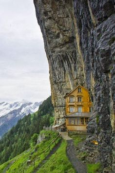 A home hidden in the Alps, Ebenalp, Switzerland Flying mud boat, Japan A home in Iran Berggasthaus Aescher-Wildkirchlil (restaurant/inn), Letchworth Park, Wonderful Places, Beautiful Places, Peaceful Places, Amazing Places, Escape Plan, French Alps, Swiss Alps, Swiss Chalet