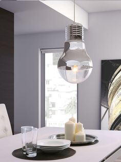 Like having a bright idea above your head, the Gilese ceiling lamp's chrome facade and light bulb shape will be the conversation piece in any room. This one light ceiling lamp will accentuate any modern decor. Ceiling Light Fixtures, Ceiling Lights, Grey Ceiling, Ceiling Pendant, Pendant Lamps, Modern Decor, Modern Furniture, Furniture Decor, Illuminati