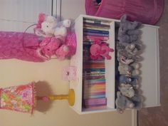 DIY toy box!  Using a bookshelf....just take the bottom shelf and place it on the front and nail into place... Simple and easy, and makes for good toy storage :)