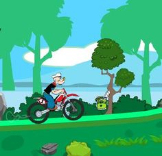 Popeye is back and this time he is going home on a bike. There are lot of spinach on road,but most of the road are not easy to ride on.Help the super popeye catch all the spinach on the way home.