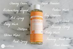 Castile soap is 100% biodegradable and super concentrated - one bottle has so many great uses all over the home!