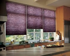 Stylish Purple Kitchen Window Blinds Used In The Kitchen With Wooden Cabinets : Functional And Decorative Kitchen Window Blinds Purple Kitchen Curtains, Modern Kitchen Curtains, Kitchen Window Blinds, Purple Curtains, Kitchen Window Treatments, Cool Curtains, Modern Curtains, Blinds For Windows, Kitchen Windows