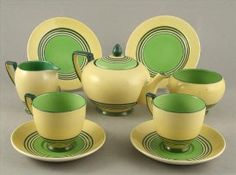 An Art Deco Carlton ware Banded Circles pattern nine piece tea for two set.