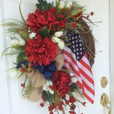 Patriotic Wreath-Americana Wreath-American Flag by ReginasGarden