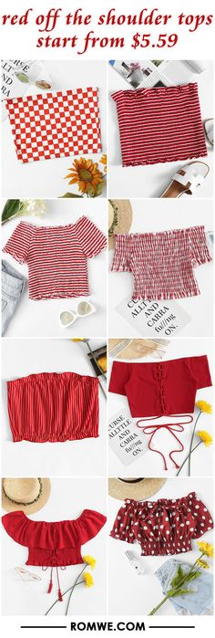 red off the shoulder tops from $5.59