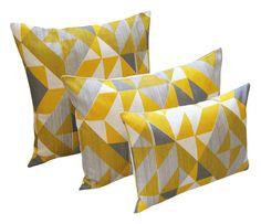 Trigonometry: Yellow, Grey - Tamasyn Gambell - A responsive Shopify theme Textile Prints, Textile Design, Textiles, Yellow And Brown, Pink Yellow, Small Cushions, Cushion Pads, Timeless Design, Trigonometry