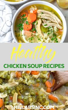 Heat it up at home or keep in warm in a thermos and you can have your healthy soup lunch recipes anywhere you need to go. Detox Chicken Soup, Coconut Curry Chicken Soup, Rotisserie Chicken Soup, Homemade Chicken Soup, Vegetable Soup With Chicken, Chicken Soup Recipes, Chicken And Vegetables, Detox Soup, Healthy Soup