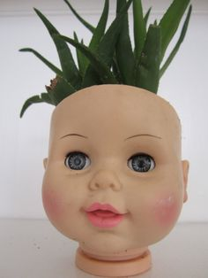 Happy Baby Doll Head Planter with Succulent Plant