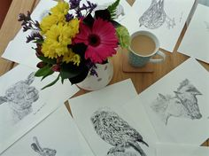 Selection of animal sketches for our greetings cards and prints! #animalart #petportraits #art #creativebusiness