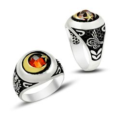 Beelogold - 925K Sterling Silver Star And Crescent Men Ring
