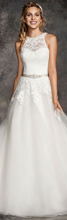 Hot Sale Halter Jewel Neck Sleeveless A-line Lace overlay Tulle Wedding Dress with Belt