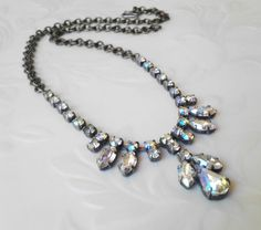 Vintage AB Rhinestone Angel Necklace