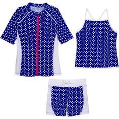 "Tween Teen Girl Short Sleeve Rash Guard Shorts Set UPF 50+ (3 Piece with Tankini) - ""Flower Power"""