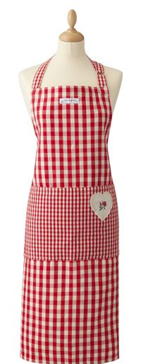 Red gingham apron with rose applique
