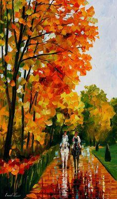 Horseback Stroll — PALETTE KNIFE Oil Painting On Canvas By Leonid Afremov #art #painting #fineart #modernart #canvas