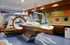 How fun is this children's hospital design? New York-Presbyterian Morgan Stanley Children's Hospital has a new CT scanner that makes it's patients feel like buccaneers casting off on an open sea adventure. Deco Pirate, Pirate Theme, Pirate Kids, Design Thinking, Service Design, Scary Kids, Big Scary, Sick Kids, Petites Tables