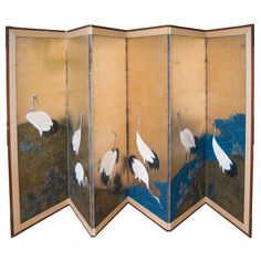 Japanese Screen  Japan  19th century - Edo Period  Six panel Japanese Screen depicting red horn cranes feeding on a river bank.