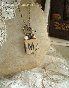 Letter M Necklace. SCRABBLE Letter Necklace. Initial Necklace. Vintage Wood Tile in Antiqued Brass Filigree. Rustic Monogram Necklace.