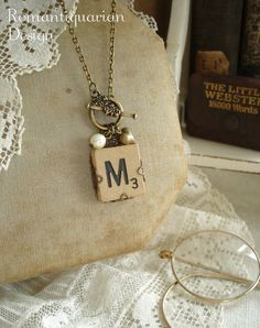 Vintage SCRABBLE Letter M Necklace. Old Wood Tile in Antiqued Brass Filigree. Initial Jewelry. Toggle Necklace. Rustic Eco Friendly Jewelry.