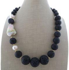 Black lava rock necklace beaded necklace gemstone by Sofiasbijoux