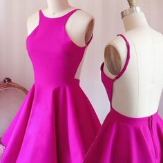 F60 simple short a-line hot pink homecoming dress,short bridesmaid dresses