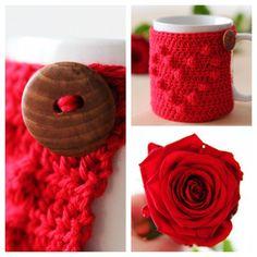 Free crochet pattern 'I heart u' mug cozy on haakmaarraak.nl!