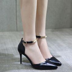 Shoespie Shine Leather Ankle Wrap Stiletto Heels