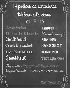 14 fonts to make a chalk board Chalkboard Typo Design, Graphic Design, Fresh Store, French Script, Letter Wall, Lettering, Chalk Art, Alphabet, Blog Deco