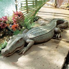 The Swamp Beast Crocodile Statue How cool would this be by your pond or pool?