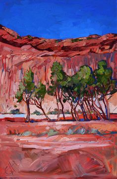 Red sandstone is the perfect color contrast for summer cottonwoods in Canyon de Chelly, Arizona. Oil painting by artist Erin Hanson. Contemporary Landscape, Abstract Landscape, Landscape Paintings, Abstract Art, Desert Landscape, Abstract Trees, Landscapes, Erin Hanson, Navajo Art
