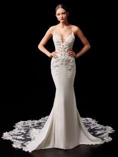 Pearl - 2021 Enzoani | Enzoani Elegant Wedding Dress, Designer Wedding Dresses, Bridal Dresses, Vows Bridal, Blush Bridal, Wedding Gown Sizes, Wedding Gowns, Wedding Bells, Birmingham