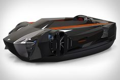 Mercier-Jones Hovercraft | Features sportscar looks, a patent-pending directional control system for unprecedented maneuverability, carbon fiber and metal alloy construction, a single gasoline engine that supplies electricity to the three electric motors, and open-air, tandem sport seating for two. ( $TBA )