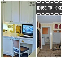 House to home transformation. From dank and dirty to bright and white. Fresh, clean amazing make over. We relocated a laundry room to make a mom's desk in the kitchen. www.huntandhost.com