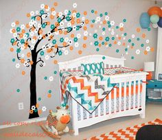Kids Wall Decals wall stickers cherry blossom tree,floral decal baby nursery decal room decor girl  -trailing Cherry blossom op Etsy, 54,62 €