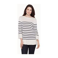 Contemporaine Striped flared-sleeve sweater (£40) ❤ liked on Polyvore featuring tops, sweaters, nautical top, nautical striped sweater, block sweater, stripe sweater and stripe top